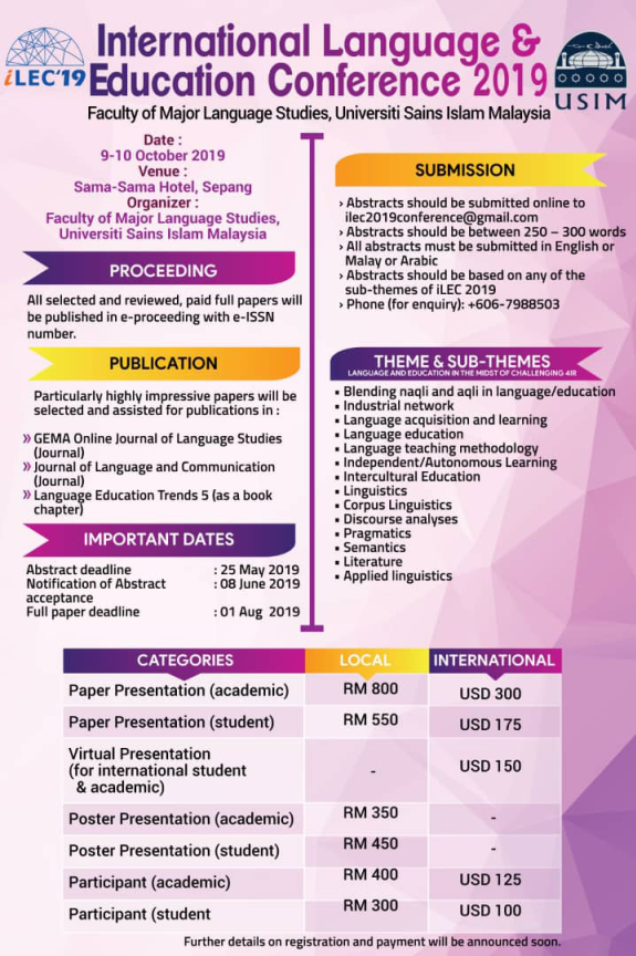 INTERNATIONAL LANGUAGE AND EDUCATION CONFERENCE ( iLEC 2019 ) – PPPI